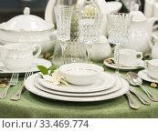 Купить «Set of dishes on table», фото № 33469774, снято 5 августа 2016 г. (c) Ольга Сергеева / Фотобанк Лори
