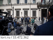 Eurodeputy Antonio Tajani, Maurizio Lupi, leader of Lega party Matteo Salvini, leader of Fratelli D'Italia party Giorgia Meloni in front of Palazzo Chigi... Редакционное фото, фотограф Alessandro Serrano' / AGF/Alessandro Serrano' / / age Fotostock / Фотобанк Лори