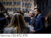 Eurodeputy Antonio Tajani, Maurizio Lupi, leader of Lega party Matteo Salvini in front of Palazzo Chigi with journalists after the meeting with the Prime Minister ,Rome, ITALY-01-04-2020. Редакционное фото, фотограф Alessandro Serrano' / AGF/Alessandro Serrano' / / age Fotostock / Фотобанк Лори