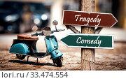 Купить «Street Sign the Direction Way to Comedy versus Tragedy», фото № 33474554, снято 2 апреля 2020 г. (c) easy Fotostock / Фотобанк Лори