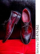 Купить «Gorgeous men's oxford shoes in black and burgundy handmade in genuine leather», фото № 33474562, снято 2 апреля 2020 г. (c) easy Fotostock / Фотобанк Лори