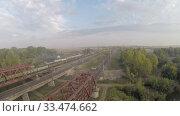 Купить «Вид с воздуха. Железнодорожный мост. Река, Россия, Уфа», видеоролик № 33474662, снято 23 февраля 2012 г. (c) Mikhail Erguine / Фотобанк Лори