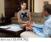 Woman talking to husband. Стоковое фото, фотограф Яков Филимонов / Фотобанк Лори