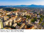 Купить «Aerial view of Ljubljana cityscape with buildings and streets», фото № 33474942, снято 3 сентября 2019 г. (c) Яков Филимонов / Фотобанк Лори