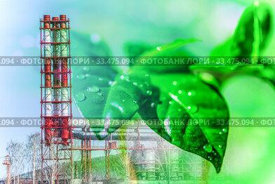 Производственные трубы на фоне листьев зеленого растения . Концепция охраны окружающей среды .