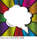 Купить «Speech bubble on rays with effect explosion background and halftone dots. For comic book and manga. Text banner. Vector bright dynamic cartoon illustration. Pop-art style template for your design», иллюстрация № 33475106 (c) Dmitry Domashenko / Фотобанк Лори