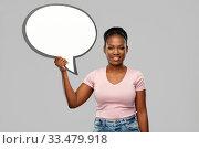 Купить «happy african american woman holding speech bubble», фото № 33479918, снято 26 января 2020 г. (c) Syda Productions / Фотобанк Лори