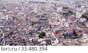 Купить «Aerial panoramic view of Xativa cityscape with Collegiate Basilica of Santa Maria, Spain», видеоролик № 33480394, снято 16 апреля 2019 г. (c) Яков Филимонов / Фотобанк Лори