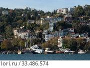 Купить «Вид на город Стамбул со стороны пролива Босфор», фото № 33486574, снято 3 ноября 2019 г. (c) Free Wind / Фотобанк Лори