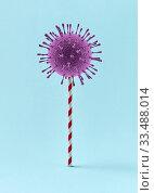 Купить «3D Coronavirus bacteria on a plastic straw as a candy.», иллюстрация № 33488014 (c) Ярослав Данильченко / Фотобанк Лори