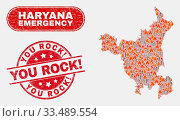 Купить «Vector composition of danger Haryana State map and red rounded textured You Rock! seal. Emergency Haryana State map mosaic of fire, energy lightning elements. Vector composition for guard services,», фото № 33489554, снято 26 мая 2020 г. (c) age Fotostock / Фотобанк Лори