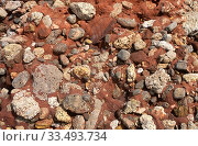 Купить «Puddingstone is a kind of conglomerate, a clastic sedimentary rock. Fragments and matrix.», фото № 33493734, снято 25 марта 2020 г. (c) age Fotostock / Фотобанк Лори