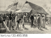 Stanley meets Livingstone. Historical legendary meeting between Henry Morton Stanley and David Livingstone in Africa in 1871, travel and exploration by... Стоковое фото, фотограф Jerónimo Alba / age Fotostock / Фотобанк Лори