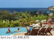 Купить «Tourists in the swimming pool of Pelican Eyes Resort and Spa in Playa San Juan del Sur beach Nicaragua Central America.», фото № 33498870, снято 25 марта 2020 г. (c) age Fotostock / Фотобанк Лори