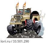 Купить «Vector Cartoon 4x4 car hot rod isolated», иллюстрация № 33501290 (c) Александр Володин / Фотобанк Лори
