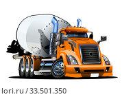 Купить «Cartoon Concrete Mixer Truck», иллюстрация № 33501350 (c) Александр Володин / Фотобанк Лори