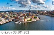 Купить «Panorama of Gamla Stan in Stockholm, Sweden», фото № 33501862, снято 28 августа 2018 г. (c) Коваленкова Ольга / Фотобанк Лори