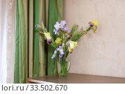 Купить «Bouquet of colored irises in vase», фото № 33502670, снято 3 июня 2020 г. (c) Дарья Филимонова / Фотобанк Лори