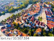 Купить «Aerial view on the city Telc. Czech Republic», фото № 33507594, снято 12 октября 2019 г. (c) Яков Филимонов / Фотобанк Лори