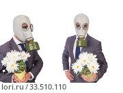 Businessman wearing gas mask isolated on white. Стоковое фото, фотограф Elnur / Фотобанк Лори