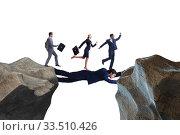 Купить «Businessman acting as a bridge in support concept», фото № 33510426, снято 6 июня 2020 г. (c) Elnur / Фотобанк Лори
