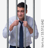Young businessman behind the bars in prison. Стоковое фото, фотограф Elnur / Фотобанк Лори