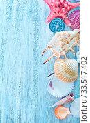 Купить «Rope,sea shell and compass on a table», фото № 33517402, снято 9 апреля 2020 г. (c) age Fotostock / Фотобанк Лори