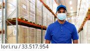Купить «indian delivery man in medical mask at warehouse», фото № 33517954, снято 12 января 2019 г. (c) Syda Productions / Фотобанк Лори