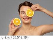 Купить «beautiful woman making eye mask of orange slices», фото № 33518194, снято 30 ноября 2019 г. (c) Syda Productions / Фотобанк Лори