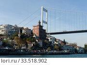 Купить «Fatih Sultan Mehmet Bridge over Bosporus Strait, Istanbul, Turkey», фото № 33518902, снято 3 ноября 2019 г. (c) Free Wind / Фотобанк Лори