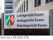 Sign at the District Court Essen, Local Court Essen, Labour Court Essen, Ruhr Area, North Rhine-Westphalia, Germany. Редакционное фото, агентство Caro Photoagency / Фотобанк Лори