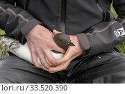 Купить «Scientist with Common guillemot (Uria aalge). Staff from Natturustofa Noroausturlands (Northeast Iceland Nature Research Centre) catch seabirds at Skoruvikurbjarg...», фото № 33520390, снято 2 июня 2020 г. (c) Nature Picture Library / Фотобанк Лори