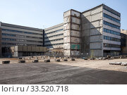 Cleared building site and the partial demolition of the former GDR Ministry of Construction in Breite Strasse in Berlin-Mitte (2019 год). Редакционное фото, агентство Caro Photoagency / Фотобанк Лори
