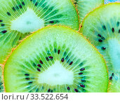 Купить «Fresh kiwi, sliced of fresh kiwi, kiwi background», фото № 33522654, снято 3 июля 2020 г. (c) age Fotostock / Фотобанк Лори