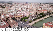 Купить «Aerial view of Murcia cityscape with a segura river and apartment buildings, Spain», видеоролик № 33527950, снято 17 апреля 2019 г. (c) Яков Филимонов / Фотобанк Лори