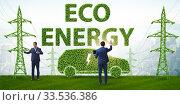 Купить «Electric car and green energy concept», фото № 33536386, снято 15 июля 2020 г. (c) Elnur / Фотобанк Лори