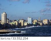 Купить «View from El Morro Castle towards El Malecon, Centro Habana and Vedado, Havana, La Habana Province, Cuba.», фото № 33552254, снято 28 марта 2019 г. (c) age Fotostock / Фотобанк Лори