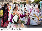 People in national costumes during Falles (2019 год). Редакционное фото, фотограф Яков Филимонов / Фотобанк Лори