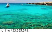Blue lagoon near Cape Greko coast. Cyprus. Редакционное видео, видеограф Serg Zastavkin / Фотобанк Лори