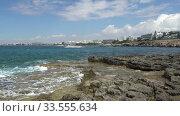 Video of coastal plateau of Cape Greco with the Ayia Napa on the background. Cyprus. Стоковое видео, видеограф Serg Zastavkin / Фотобанк Лори