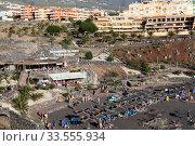 The Playa de Ajabo beach with black volcanic sand is on Atlantic ocean coast. Тенерифе, Канары, Испания (2016 год). Редакционное фото, фотограф Кекяляйнен Андрей / Фотобанк Лори
