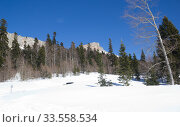 Купить «Beautiful mountains covered with snow. Sunny day and blue sky on a frosty day», фото № 33558534, снято 5 марта 2019 г. (c) Олег Хархан / Фотобанк Лори