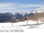 Купить «Beautiful mountains covered with snow. Sunny day and blue sky on a frosty day», фото № 33558550, снято 5 марта 2019 г. (c) Олег Хархан / Фотобанк Лори