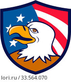 Illustration of an american bald eagle head smiling viewed from the side with usa american stars and stripes flag in the background set inside shield crest done in cartoon style. Стоковое фото, фотограф Zoonar.com/patrimonio designs / easy Fotostock / Фотобанк Лори