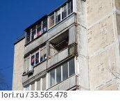 Девятиэтажный двенадцатиподъездный панельный жилой дом серии II-49Д, построен в 1969 году. Хабаровская улица, 17/13. Район Гольяново. Город Москва. Редакционное фото, фотограф lana1501 / Фотобанк Лори