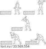 Collection set of illustrations of an athlete working out hitting tire with hammer viewed from the side done in drawing sketch style. Стоковое фото, фотограф Zoonar.com/patrimonio designs / easy Fotostock / Фотобанк Лори