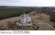 View from drone of Mirow Castle, medieval castle in Silesian Voivodeship, Poland. Стоковое видео, видеограф Яков Филимонов / Фотобанк Лори