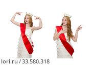 Beauty contest winner isolated on the white. Стоковое фото, фотограф Elnur / Фотобанк Лори