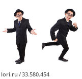 Funny gentleman in striped suit isolated on white. Стоковое фото, фотограф Elnur / Фотобанк Лори