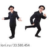 Купить «Funny gentleman in striped suit isolated on white», фото № 33580454, снято 27 октября 2013 г. (c) Elnur / Фотобанк Лори